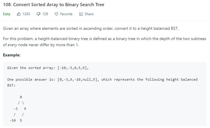 leetcode-108-Convert-Sorted-Array-to-Binary-Search-Tree
