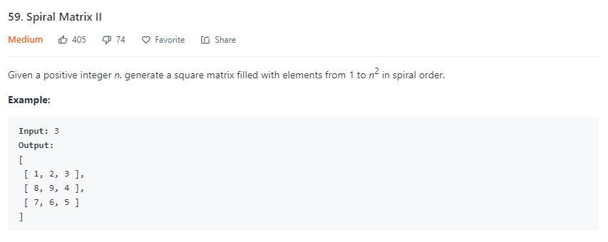 leetCode-59-Spiral-MatrixII