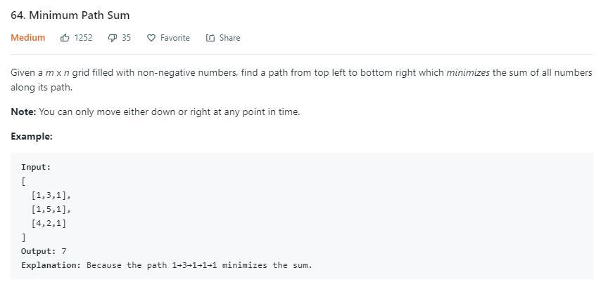 leetCode-64-Minimum-PathSum