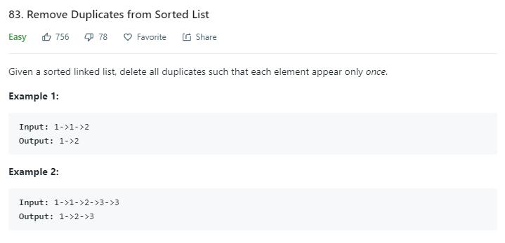 leetCode-83-Remove-Duplicates-from-Sorted-List